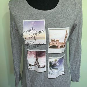 SO long sleeve gray girls travel shirt